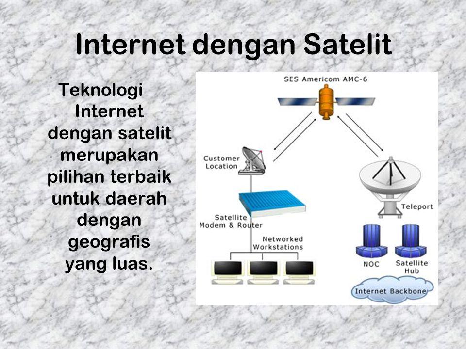 Internet dengan Satelit Teknologi Internet dengan satelit merupakan pilihan terbaik untuk daerah dengan geografis yang luas.