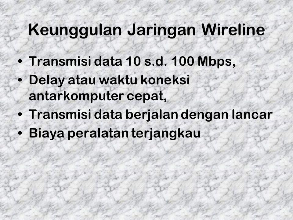 Keunggulan Jaringan Wireline Transmisi data 10 s.d. 100 Mbps, Delay atau waktu koneksi antarkomputer cepat, Transmisi data berjalan dengan lancar Biay