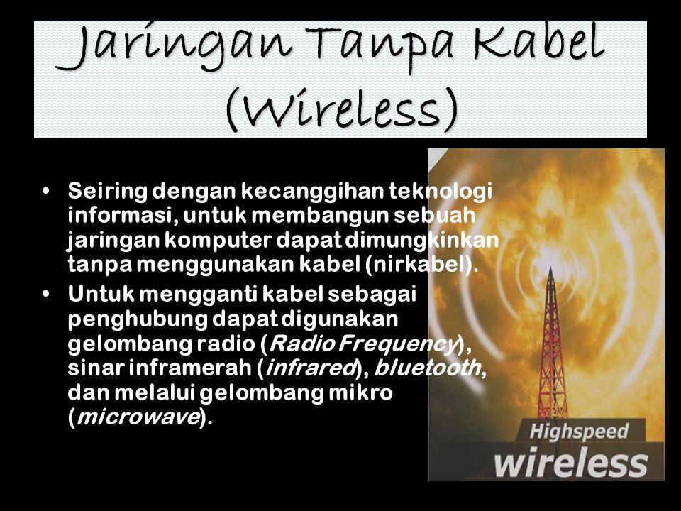 Jaringan Tanpa Kabel (Wireless) Seiring dengan kecanggihan teknologi informasi, untuk membangun sebuah jaringan komputer dapat dimungkinkan tanpa meng