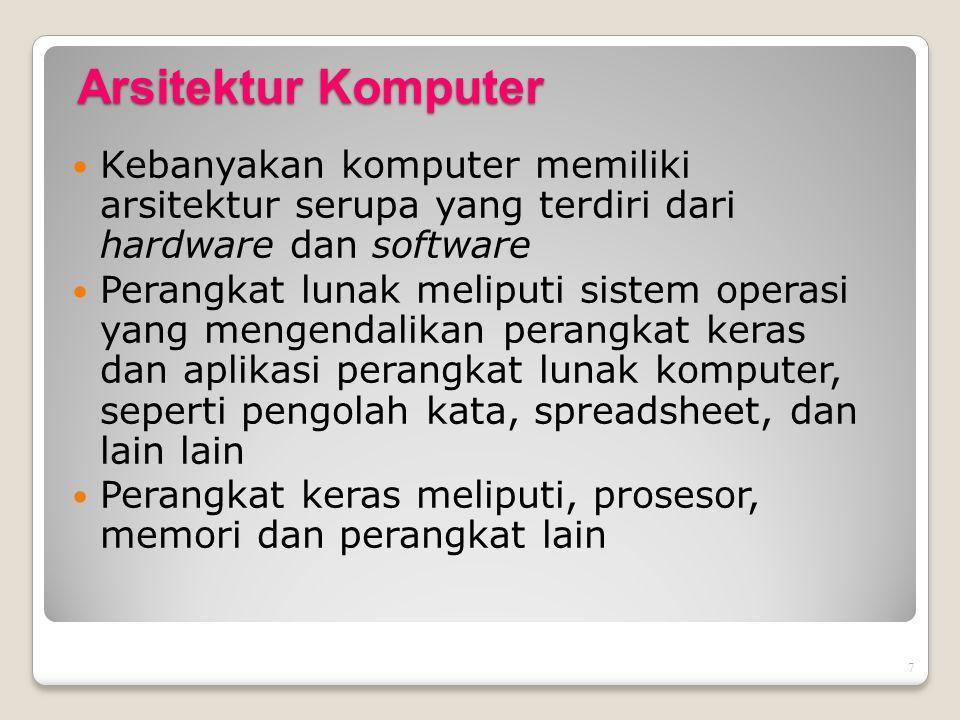 7 Arsitektur Komputer Kebanyakan komputer memiliki arsitektur serupa yang terdiri dari hardware dan software Perangkat lunak meliputi sistem operasi y