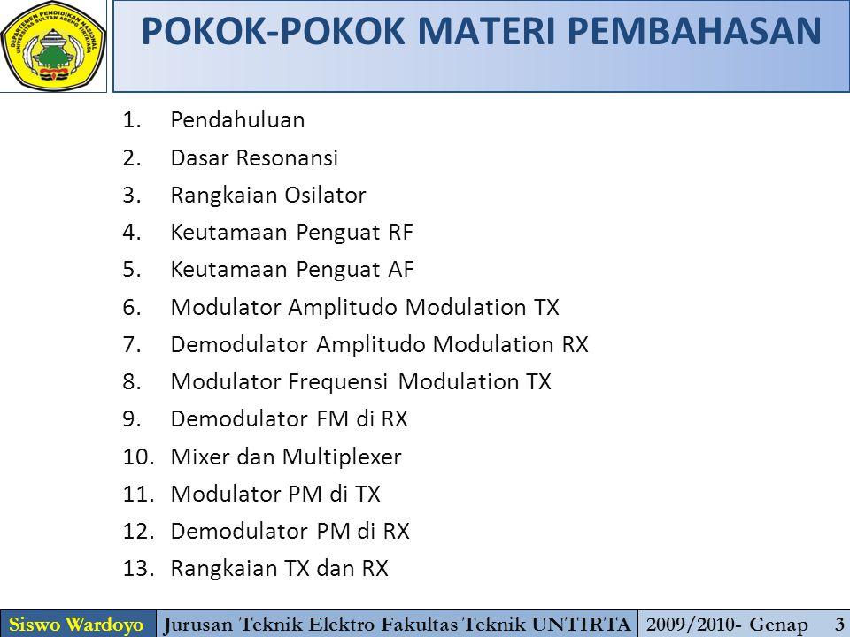 POKOK-POKOK MATERI PEMBAHASAN Siswo WardoyoJurusan Teknik Elektro Fakultas Teknik UNTIRTA2009/2010- Genap 3 1.Pendahuluan 2.Dasar Resonansi 3.Rangkaia