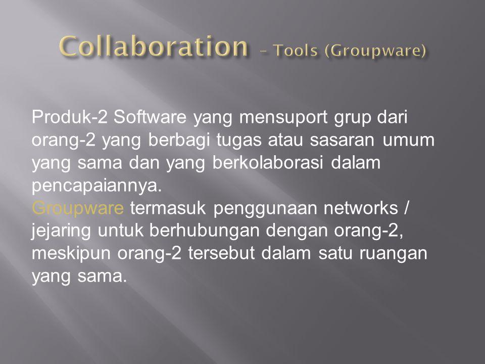 Produk-2 Software yang mensuport grup dari orang-2 yang berbagi tugas atau sasaran umum yang sama dan yang berkolaborasi dalam pencapaiannya. Groupwar