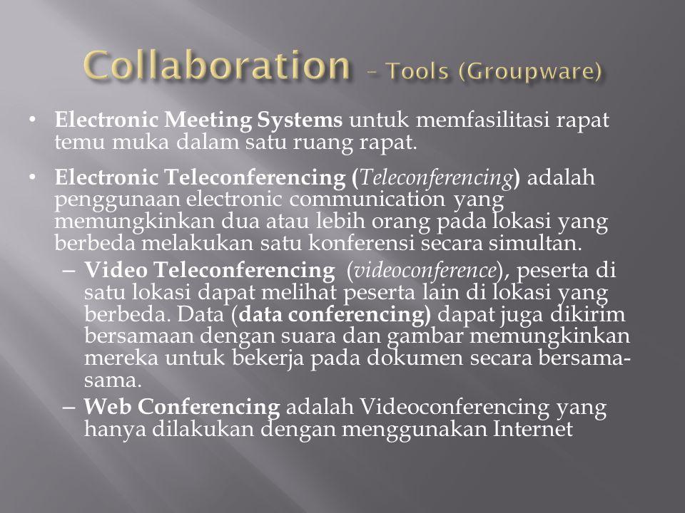 Electronic Meeting Systems untuk memfasilitasi rapat temu muka dalam satu ruang rapat. Electronic Teleconferencing ( Teleconferencing ) adalah penggun