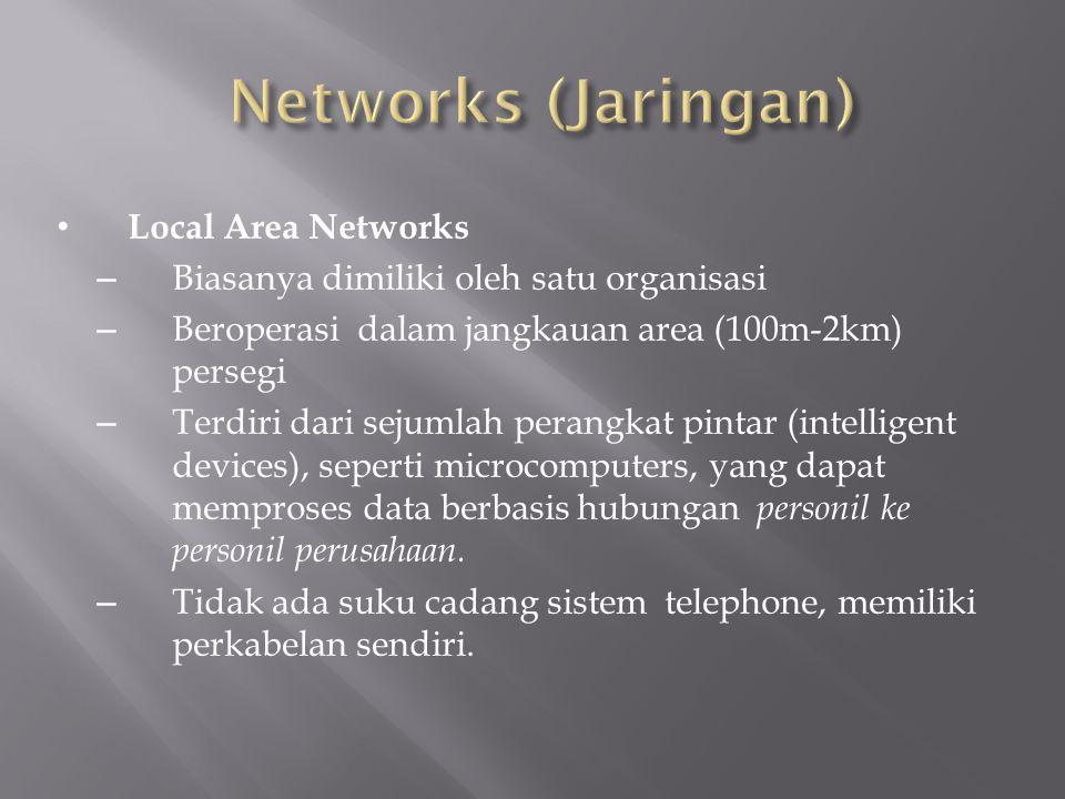 Local Area Networks – Biasanya dimiliki oleh satu organisasi – Beroperasi dalam jangkauan area (100m-2km) persegi – Terdiri dari sejumlah perangkat pi