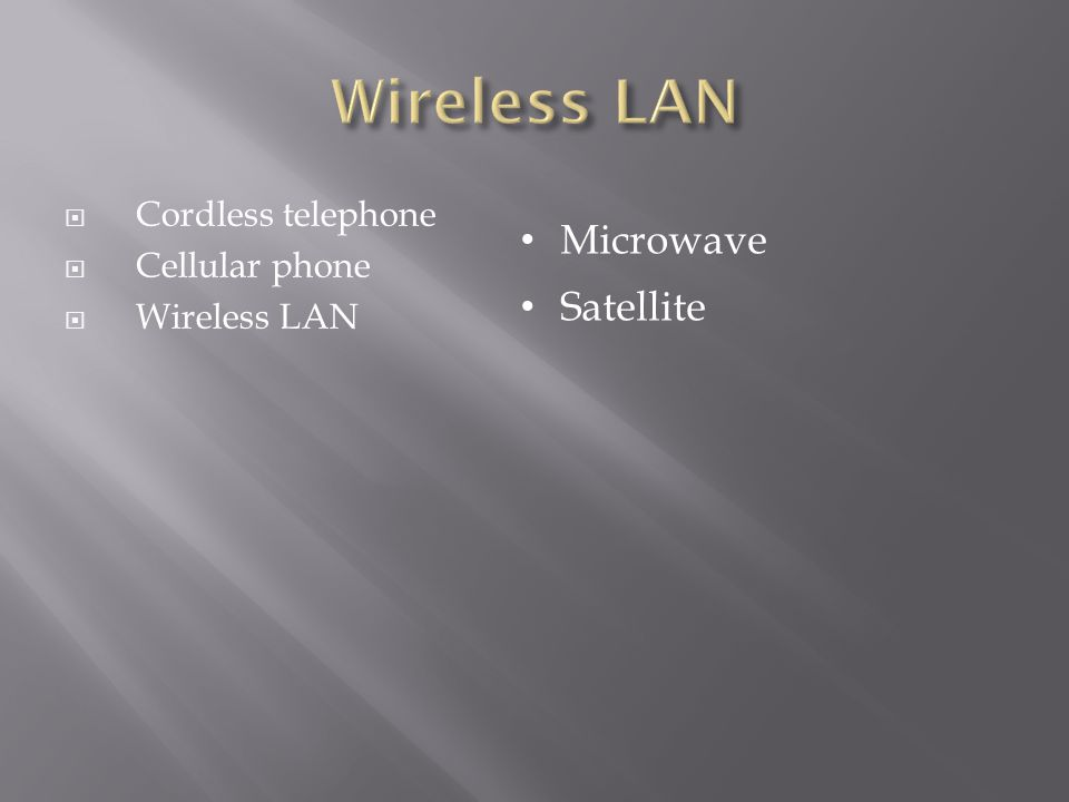  Cordless telephone  Cellular phone  Wireless LAN Microwave Satellite