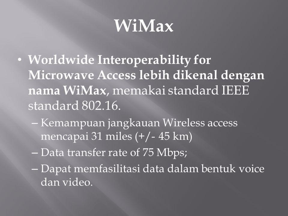 WiMax Worldwide Interoperability for Microwave Access lebih dikenal dengan nama WiMax, memakai standard IEEE standard 802.16. – Kemampuan jangkauan Wi
