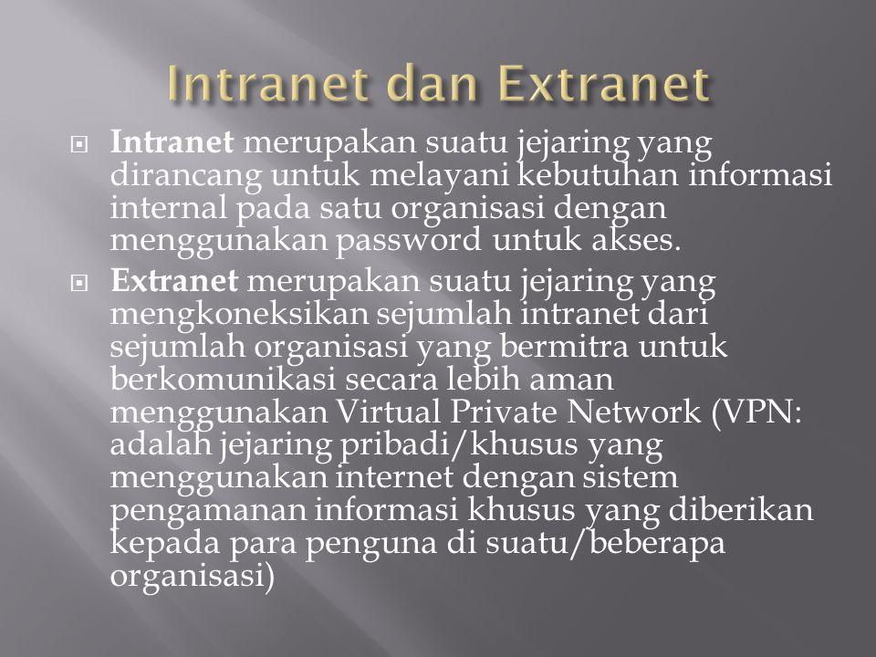  Intranet merupakan suatu jejaring yang dirancang untuk melayani kebutuhan informasi internal pada satu organisasi dengan menggunakan password untuk