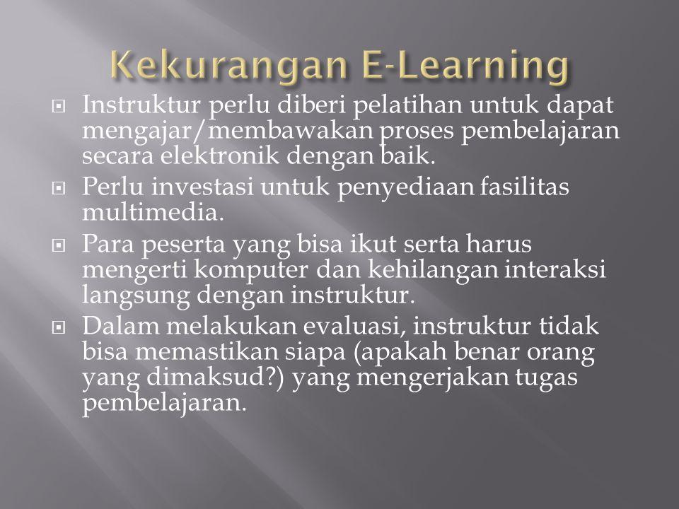  Instruktur perlu diberi pelatihan untuk dapat mengajar/membawakan proses pembelajaran secara elektronik dengan baik.  Perlu investasi untuk penyedi