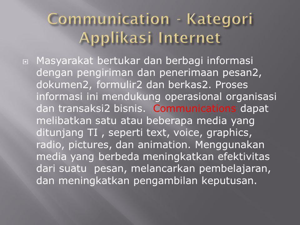  Masyarakat bertukar dan berbagi informasi dengan pengiriman dan penerimaan pesan2, dokumen2, formulir2 dan berkas2. Proses informasi ini mendukung o