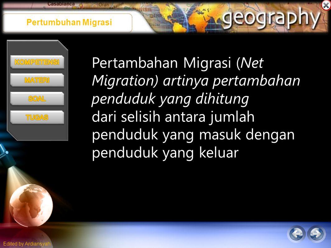 Edited by Ardiansyah Pertumbuhan Migrasi Pertambahan Migrasi (Net Migration) artinya pertambahan penduduk yang dihitung dari selisih antara jumlah penduduk yang masuk dengan penduduk yang keluar