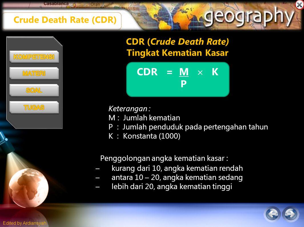 Edited by Ardiansyah CDR (Crude Death Rate) Tingkat Kematian Kasar CDR = M  K P Keterangan : M : Jumlah kematian P : Jumlah penduduk pada pertengahan tahun K : Konstanta (1000) Penggolongan angka kematian kasar : –kurang dari 10, angka kematian rendah –antara 10 – 20, angka kematian sedang –lebih dari 20, angka kematian tinggi Crude Death Rate (CDR)