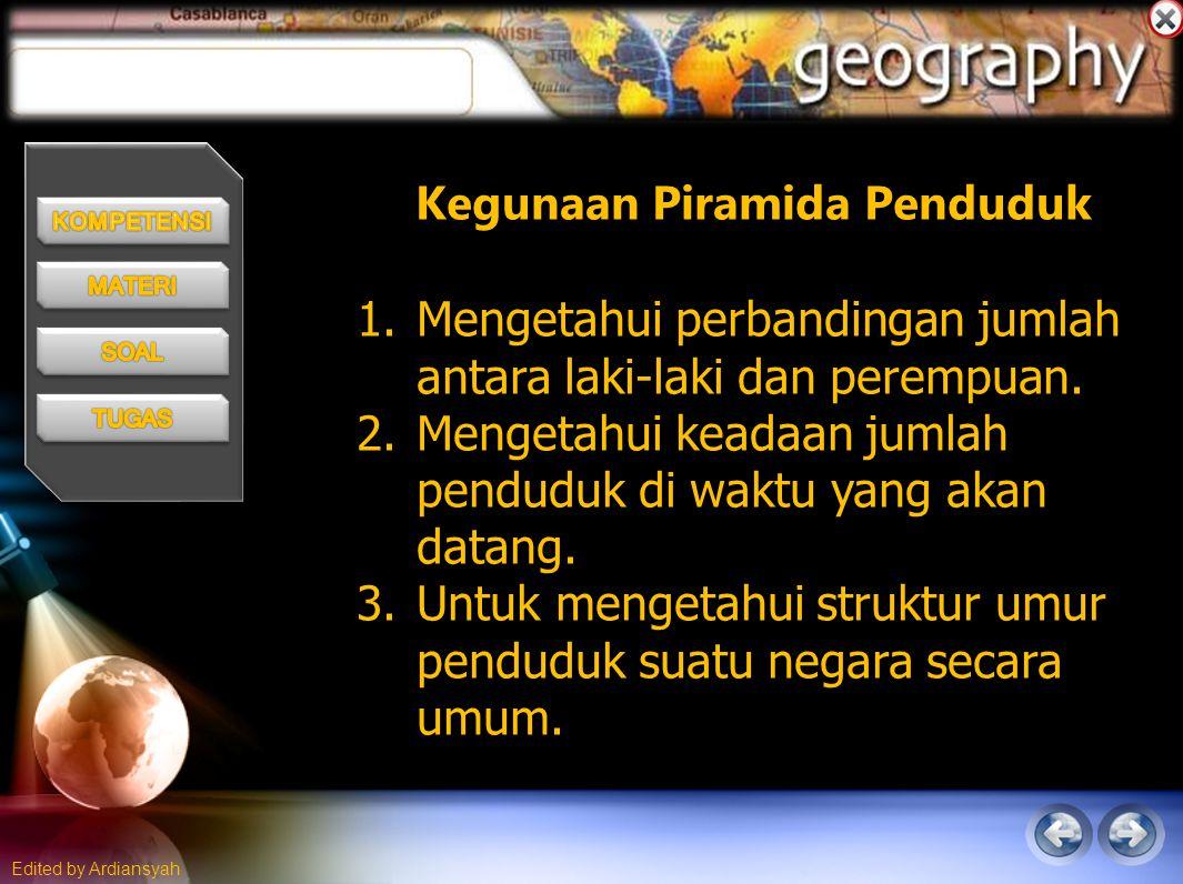 Edited by Ardiansyah Kegunaan Piramida Penduduk tinggi 1.Mengetahui perbandingan jumlah antara laki-laki dan perempuan.