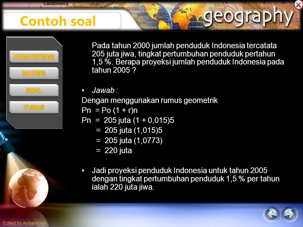 Edited by Ardiansyah Pada tahun 2000 jumlah penduduk Indonesia tercatata 205 juta jiwa, tingkat pertumbuhan penduduk pertahun 1,5 %.
