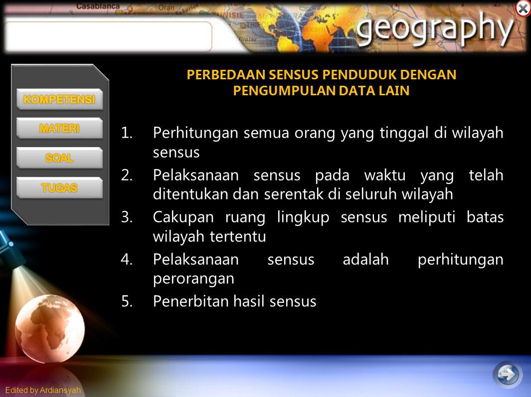 Edited by Ardiansyah Perkembangan Penduduk Indonesia
