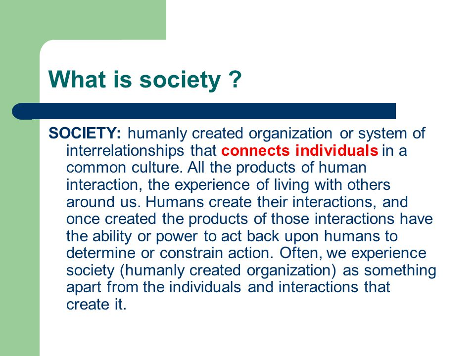 What is society ? SOCIETY: humanly created organization or system of interrelationships that connects individuals in a common culture. All the product