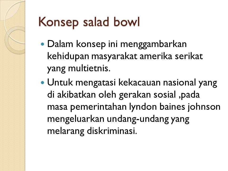 Konsep salad bowl Dalam konsep ini menggambarkan kehidupan masyarakat amerika serikat yang multietnis. Untuk mengatasi kekacauan nasional yang di akib