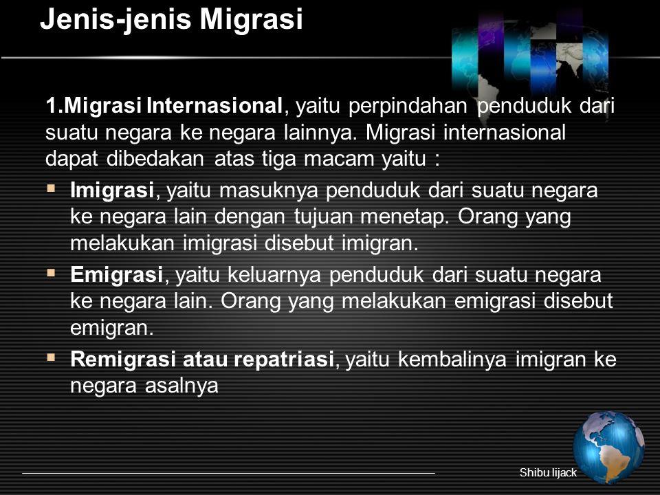 Jenis-jenis Migrasi 1.Migrasi Internasional, yaitu perpindahan penduduk dari suatu negara ke negara lainnya.