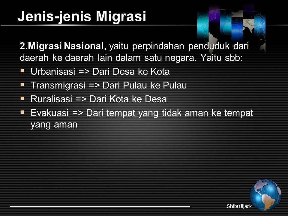 Jenis-jenis Migrasi 2.Migrasi Nasional, yaitu perpindahan penduduk dari daerah ke daerah lain dalam satu negara.