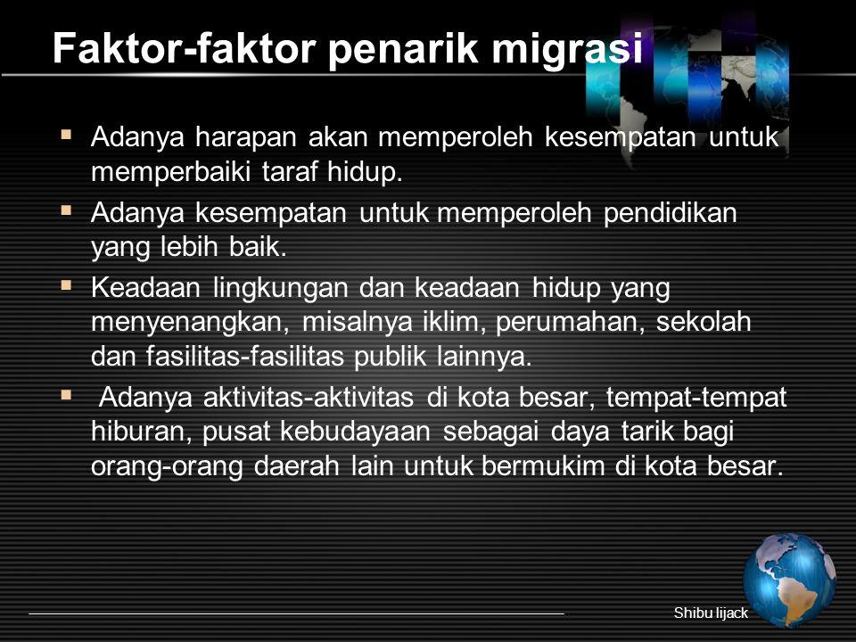 Faktor-faktor penarik migrasi  Adanya harapan akan memperoleh kesempatan untuk memperbaiki taraf hidup.