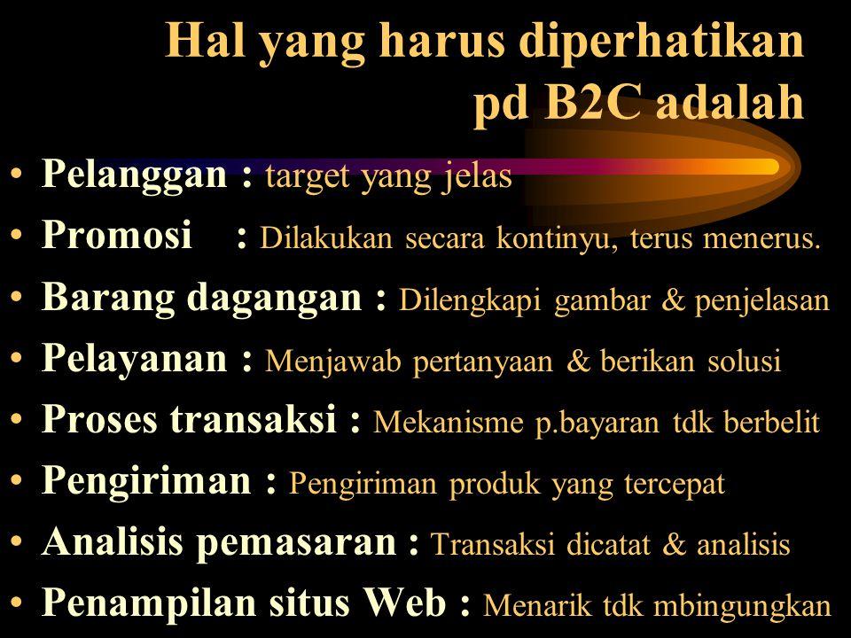 Hal yang harus diperhatikan pd B2C adalah Pelanggan : target yang jelas Promosi : Dilakukan secara kontinyu, terus menerus. Barang dagangan : Dilengka
