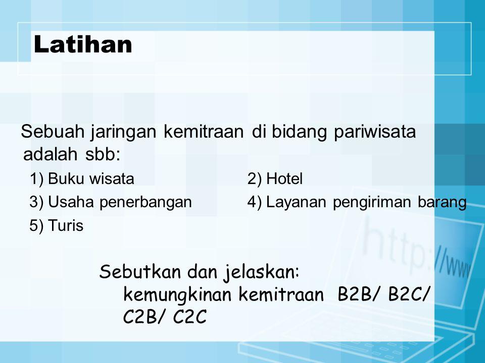Latihan Sebuah jaringan kemitraan di bidang pariwisata adalah sbb: 1) Buku wisata2) Hotel 3) Usaha penerbangan4) Layanan pengiriman barang 5) Turis Sebutkan dan jelaskan: kemungkinan kemitraan B2B/ B2C/ C2B/ C2C