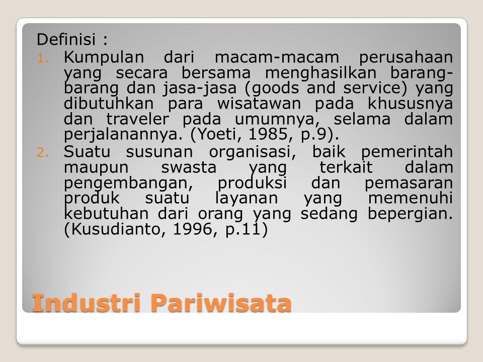 Industri Pariwisata Definisi : 1. Kumpulan dari macam-macam perusahaan yang secara bersama menghasilkan barang- barang dan jasa-jasa (goods and servic