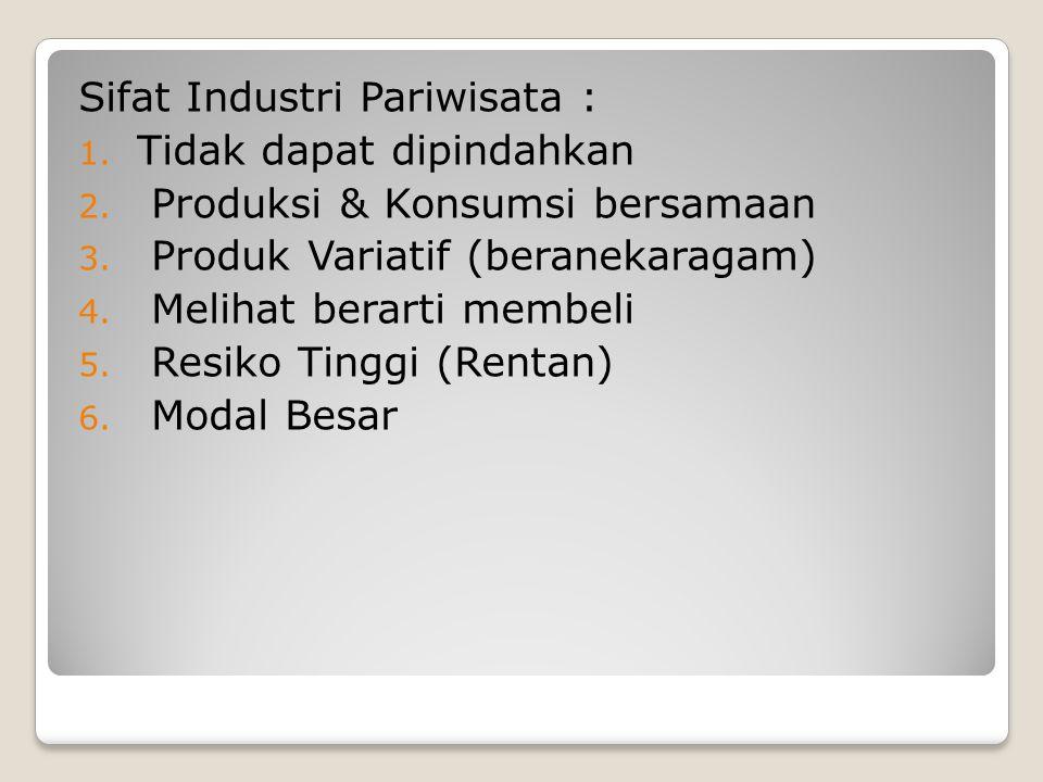 Sifat Industri Pariwisata : 1. Tidak dapat dipindahkan 2. Produksi & Konsumsi bersamaan 3. Produk Variatif (beranekaragam) 4. Melihat berarti membeli