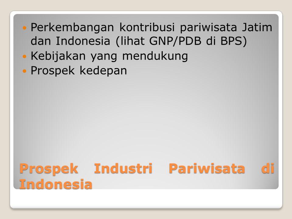Prospek Industri Pariwisata di Indonesia Perkembangan kontribusi pariwisata Jatim dan Indonesia (lihat GNP/PDB di BPS) Kebijakan yang mendukung Prospe