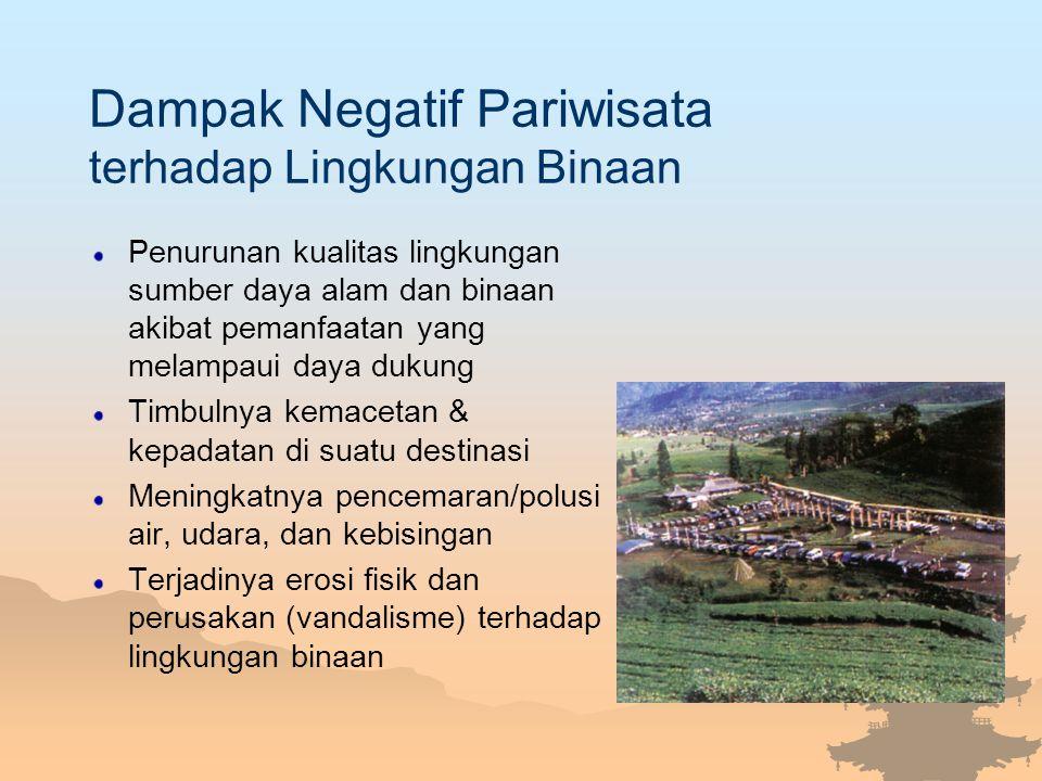 Dampak Negatif Pariwisata terhadap Lingkungan Binaan Penurunan kualitas lingkungan sumber daya alam dan binaan akibat pemanfaatan yang melampaui daya