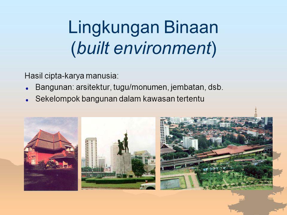 Lingkungan Binaan (built environment) Hasil cipta-karya manusia: Bangunan: arsitektur, tugu/monumen, jembatan, dsb. Sekelompok bangunan dalam kawasan