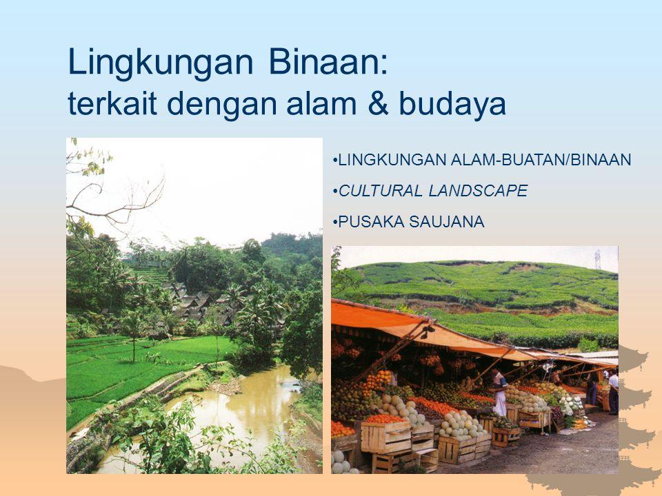 Hubungan/Keterkaitan Lingkungan Binaan & Pariwisata Elemen lingkungan binaan merupakan salah satu daya tarik wisata Penggunaan lingkungan binaan untuk kegiatan pariwisata Pariwisata memiliki dampak bagi lingkungan binaan Fasilitas & infrastruktur pariwisata merupakan bagian dari lingkungan binaan