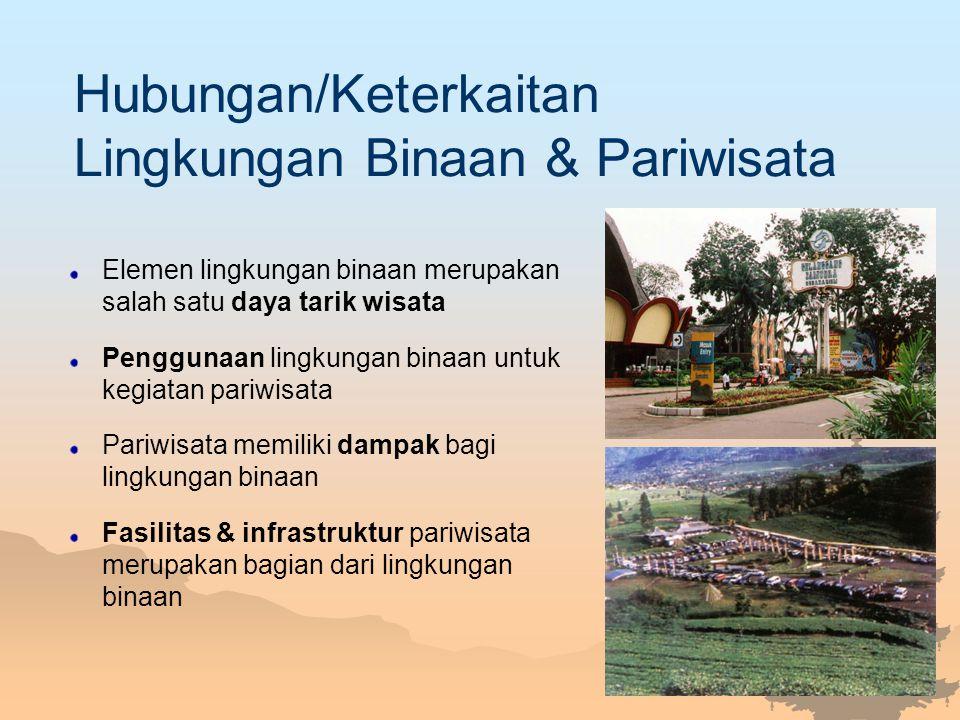Hubungan/Keterkaitan Lingkungan Binaan & Pariwisata Elemen lingkungan binaan merupakan salah satu daya tarik wisata Penggunaan lingkungan binaan untuk