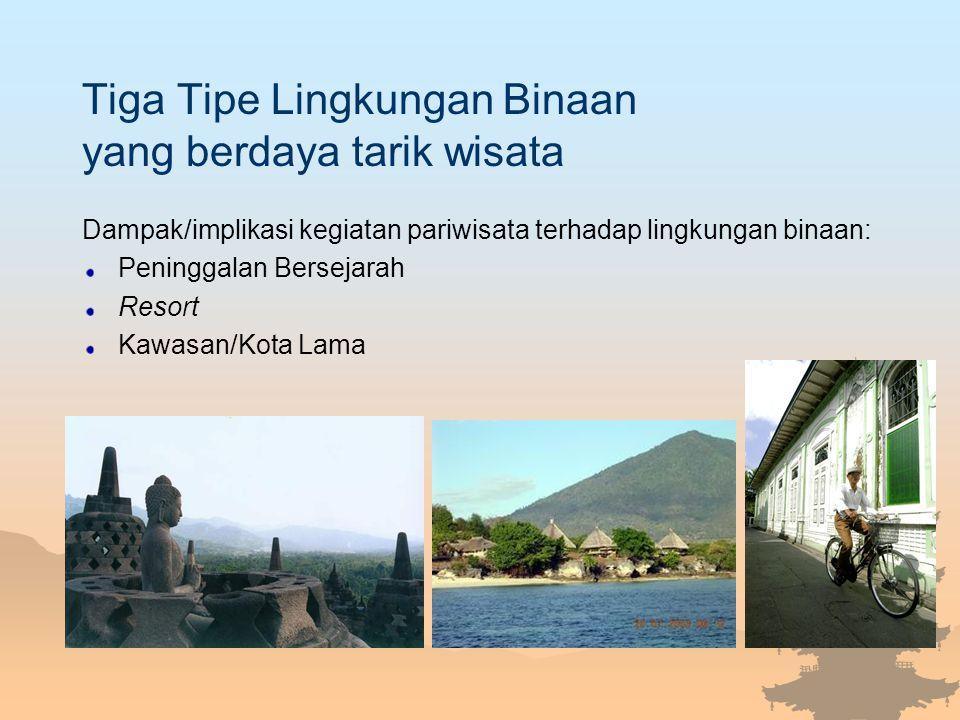 Tiga Tipe Lingkungan Binaan yang berdaya tarik wisata Dampak/implikasi kegiatan pariwisata terhadap lingkungan binaan: Peninggalan Bersejarah Resort K