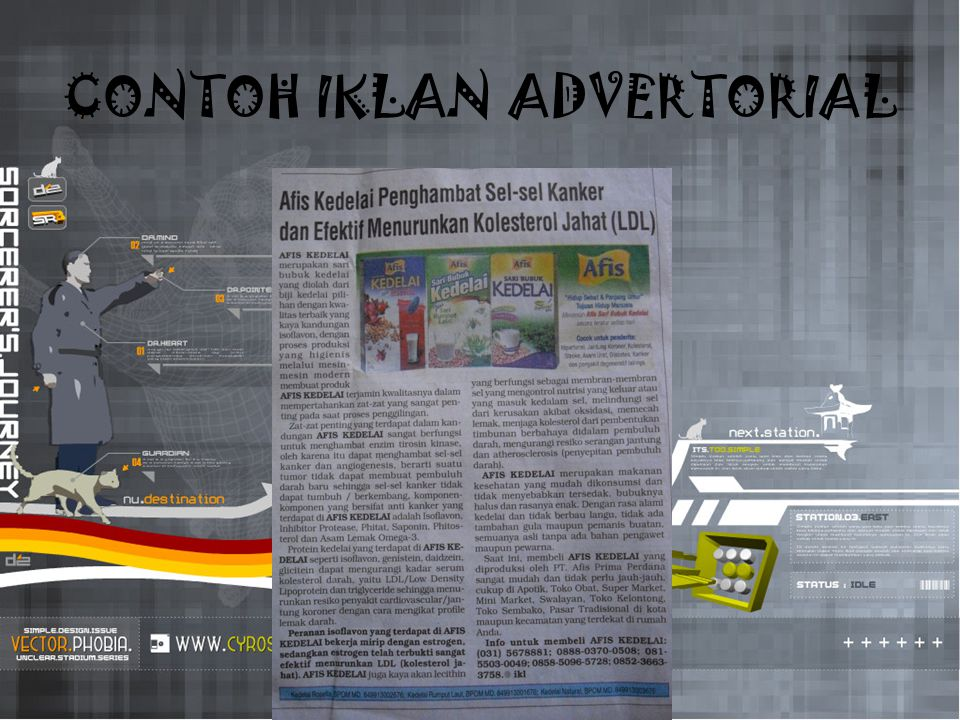 Iklan display iklan yang pada umumnya menggunakan ilustrasi, judul iklan, ruang kosong (white space), dan piranti-piranti visual lain sebagai tambahan bagi materi visual.