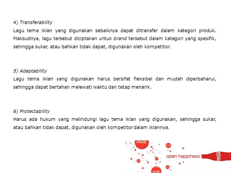 4) Transferability Lagu tema iklan yang digunakan sebaiknya dapat ditransfer dalam kategori produk. Maksudnya, lagu tersebut diciptakan untuk brand te