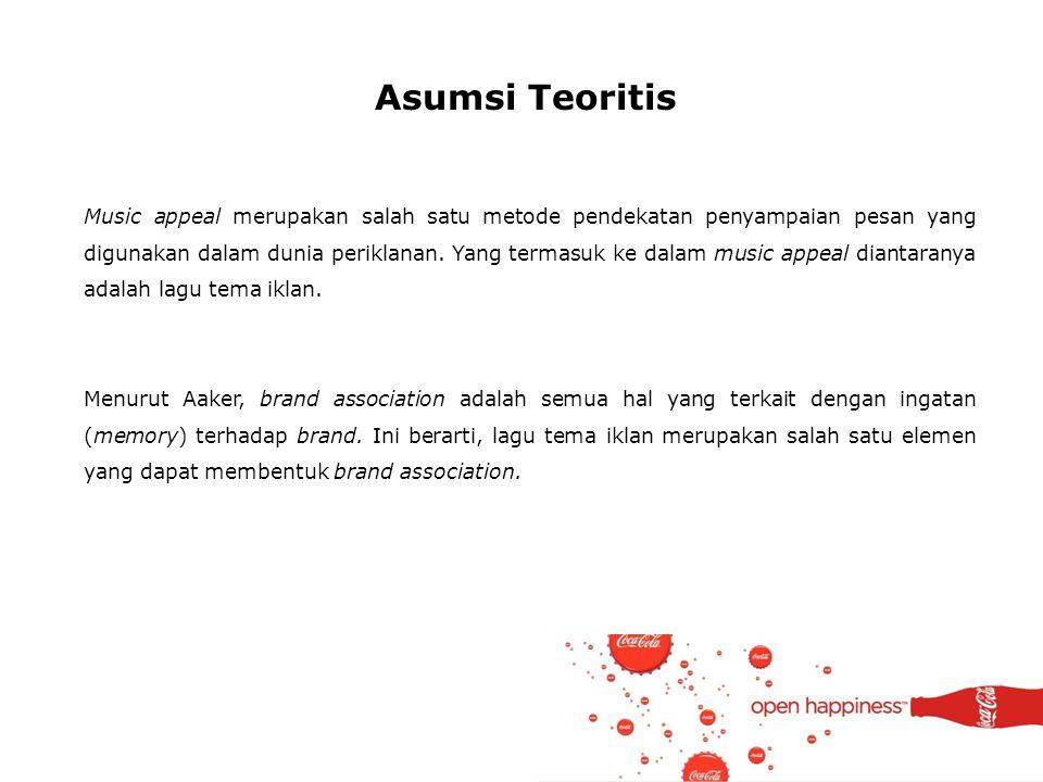 Asumsi Teoritis Music appeal merupakan salah satu metode pendekatan penyampaian pesan yang digunakan dalam dunia periklanan. Yang termasuk ke dalam mu