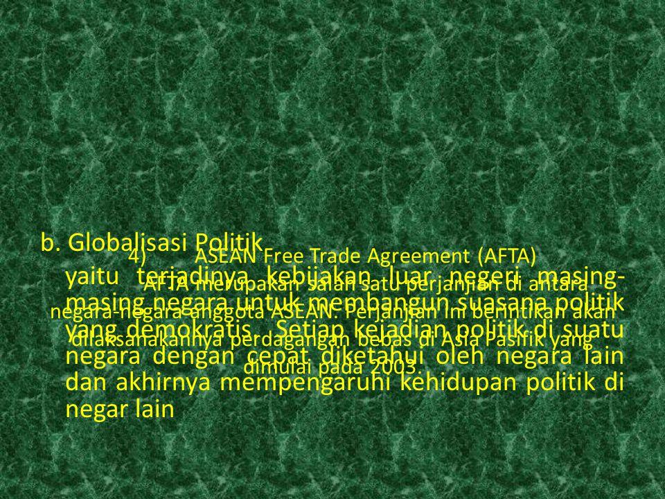 4)ASEAN Free Trade Agreement (AFTA) AFTA merupakan salah satu perjanjian di antara negara-negara anggota ASEAN. Perjanjian ini berintikan akan dilaksa