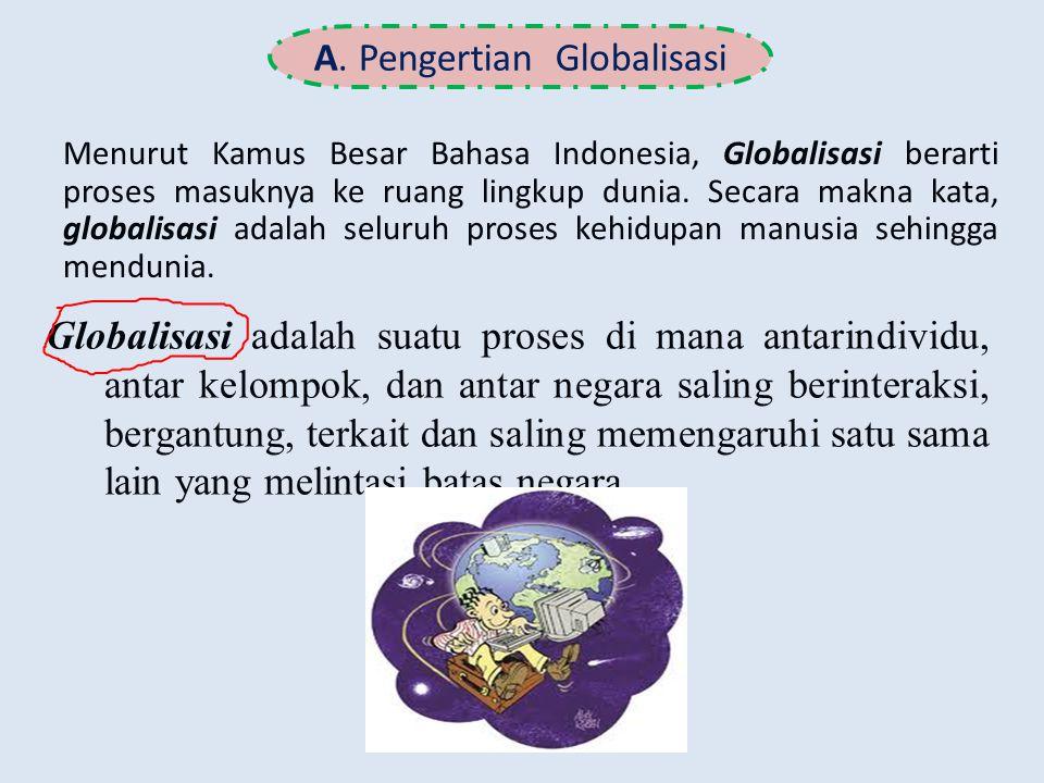 A. Pengertian Globalisasi Menurut Kamus Besar Bahasa Indonesia, Globalisasi berarti proses masuknya ke ruang lingkup dunia. Secara makna kata, globali