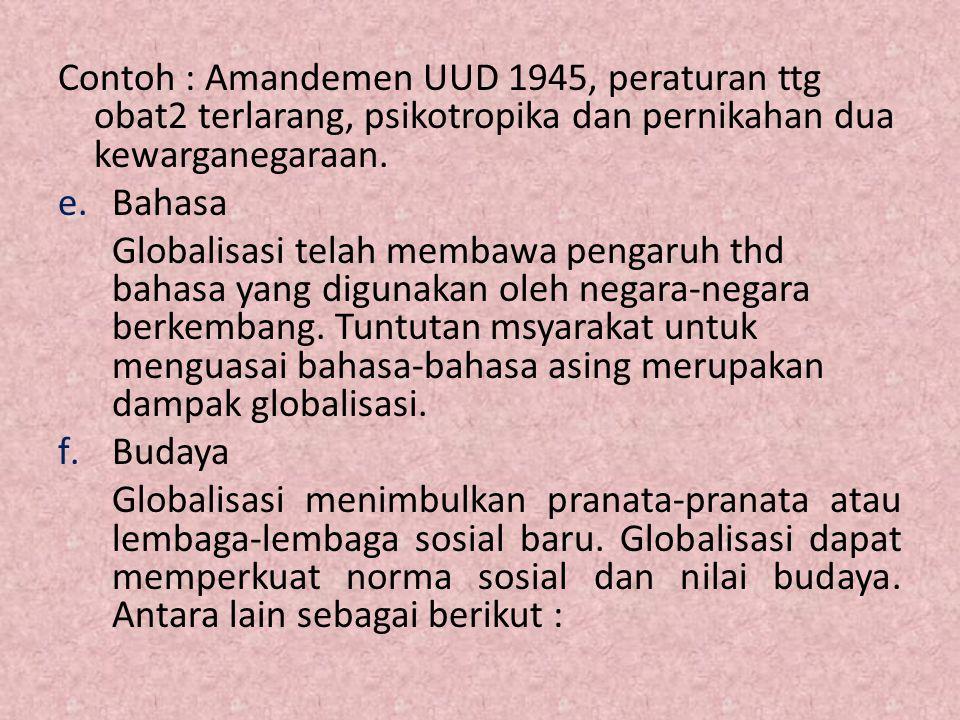 Contoh : Amandemen UUD 1945, peraturan ttg obat2 terlarang, psikotropika dan pernikahan dua kewarganegaraan. e.Bahasa Globalisasi telah membawa pengar