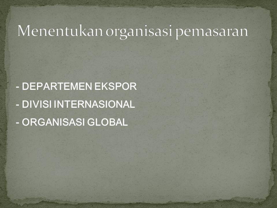 - DEPARTEMEN EKSPOR - DIVISI INTERNASIONAL - ORGANISASI GLOBAL