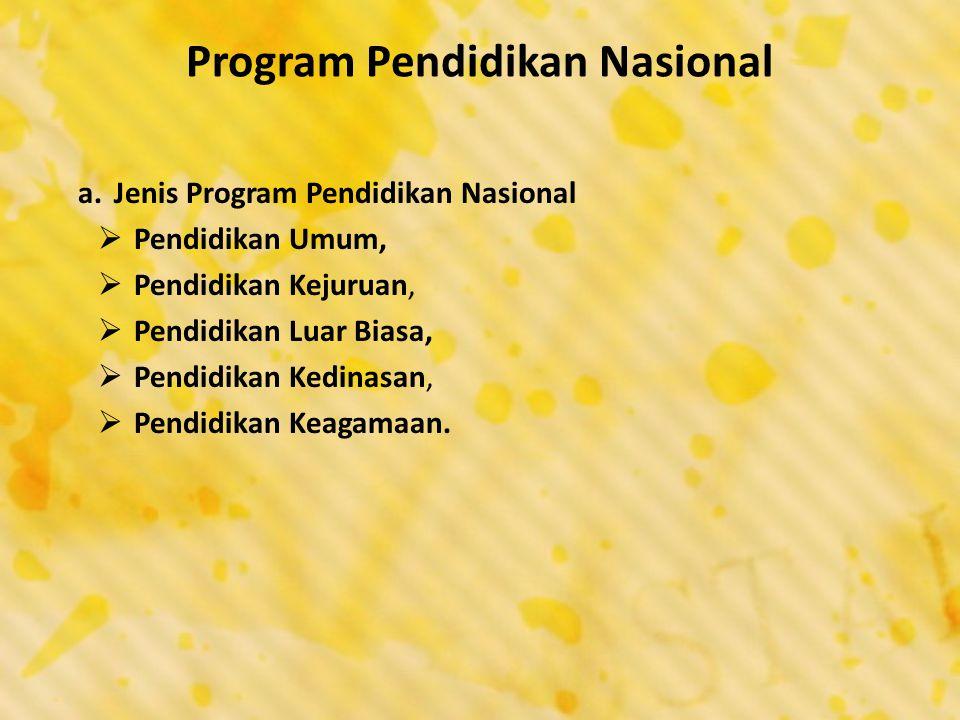 Program Pendidikan Nasional a.Jenis Program Pendidikan Nasional  Pendidikan Umum,  Pendidikan Kejuruan,  Pendidikan Luar Biasa,  Pendidikan Kedina