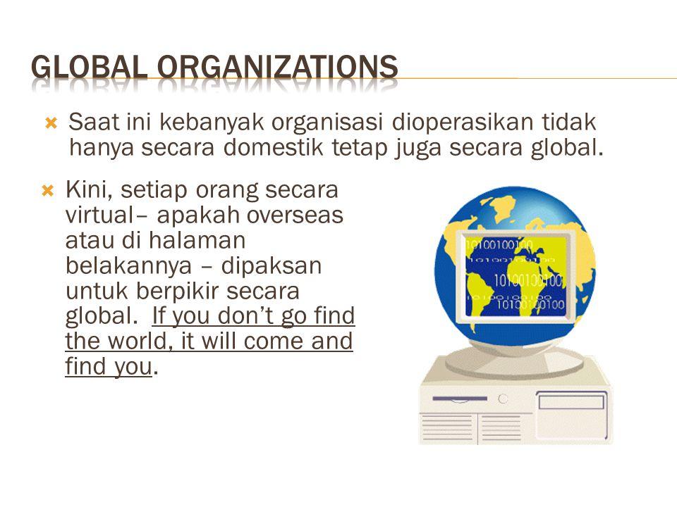  Saat ini kebanyak organisasi dioperasikan tidak hanya secara domestik tetap juga secara global.  Kini, setiap orang secara virtual– apakah overseas