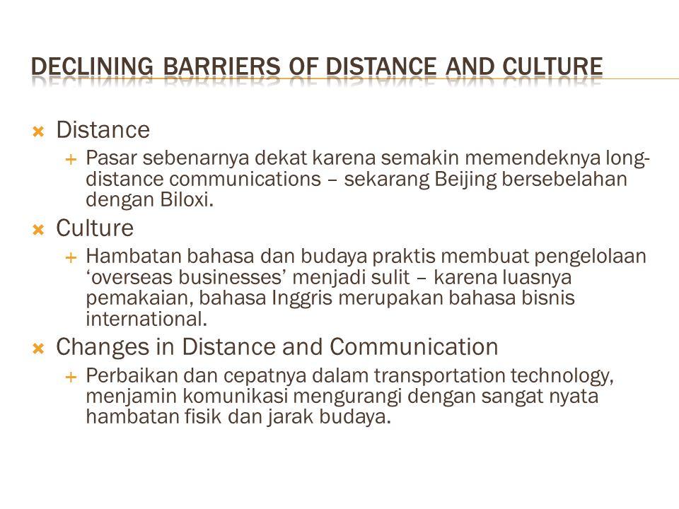  Distance  Pasar sebenarnya dekat karena semakin memendeknya long- distance communications – sekarang Beijing bersebelahan dengan Biloxi.  Culture