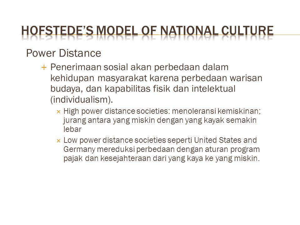 Power Distance  Penerimaan sosial akan perbedaan dalam kehidupan masyarakat karena perbedaan warisan budaya, dan kapabilitas fisik dan intelektual (i