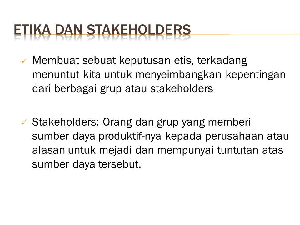 Membuat sebuat keputusan etis, terkadang menuntut kita untuk menyeimbangkan kepentingan dari berbagai grup atau stakeholders Stakeholders: Orang dan g