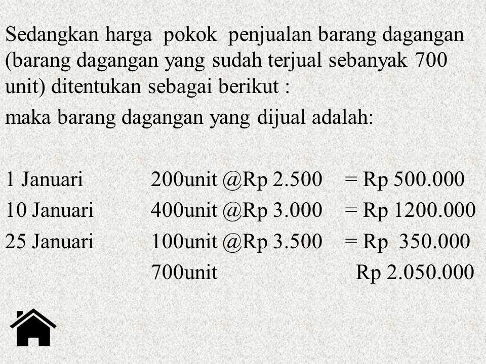 Sedangkan harga pokok penjualan barang dagangan (barang dagangan yang sudah terjual sebanyak 700 unit) ditentukan sebagai berikut : maka barang dagang