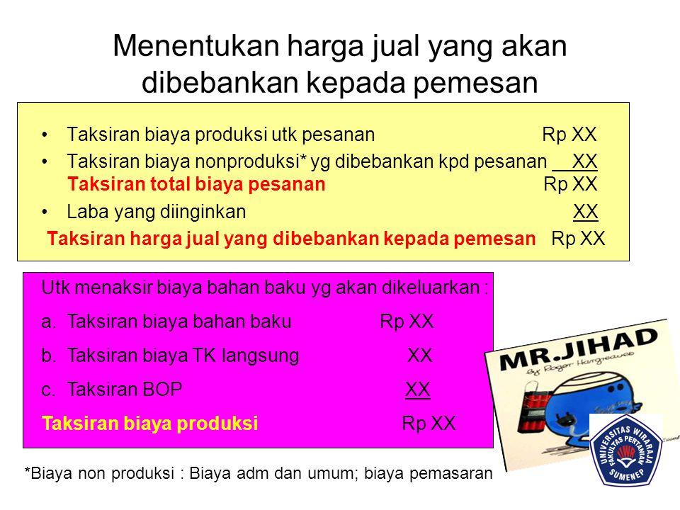MEMANTAU REALISASI BIAYA PRODUKSI Perhitungan biaya produksi sesungguhnya yang dikeluarkan untuk pesanan tertentu : Biaya bahan baku sesungguhnya Rp XX Biaya TK sesungguhnya XX Taksiran BOP XX Total biaya produksi Rp XX Menghitung Laba / Rugi Bruto Tiap Pesanan Harga jual yg dibebankan kpd konsumen Rp XX Biaya Produksi Pesanan Tertentu: Biaya bahan baku sesungguhnya XX Biaya TK Langsung sesungguhnya XX Total Biaya Produksi Pesanan XX Rp XX Laba Bruto Rp XX