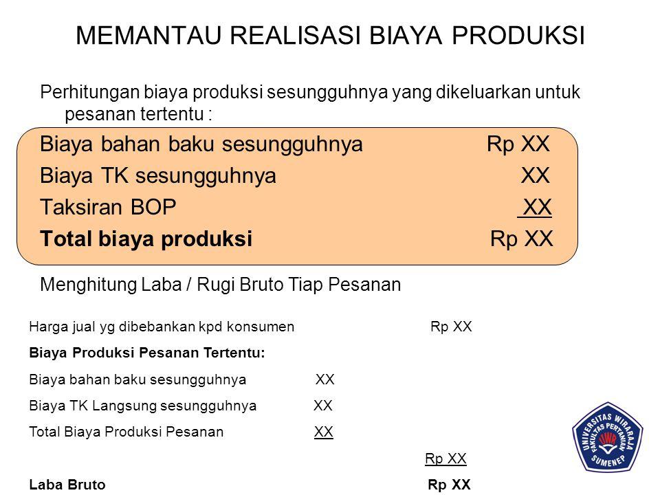 MEMANTAU REALISASI BIAYA PRODUKSI Perhitungan biaya produksi sesungguhnya yang dikeluarkan untuk pesanan tertentu : Biaya bahan baku sesungguhnya Rp X
