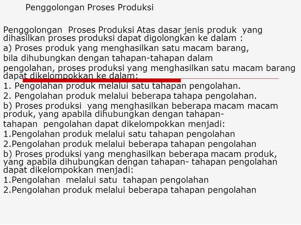 Penggolongan Proses Produksi Penggolongan Proses Produksi Atas dasar jenis produk yang dihasilkan proses produksi dapat digolongkan ke dalam : a) Pros
