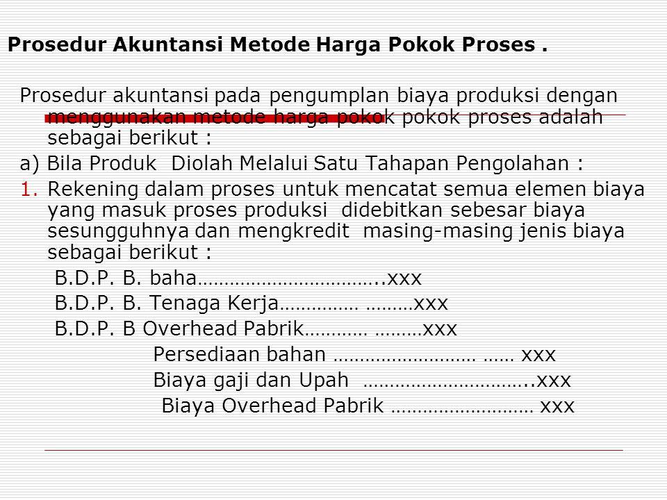 Prosedur Akuntansi Metode Harga Pokok Proses. Prosedur akuntansi pada pengumplan biaya produksi dengan menggunakan metode harga pokok pokok proses ada